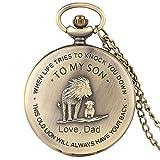 NOBRAND Reloj de Bolsillo, Significativo Reloj de Bolsillo de león Hombre a mi Hijo Serie Reloj Colgante con Collar Reloj