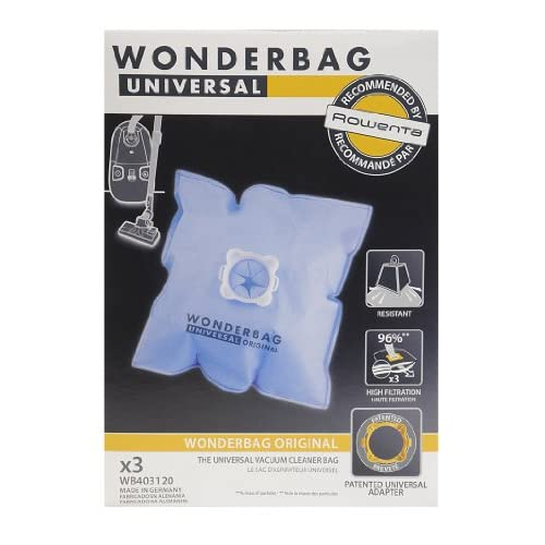 Universal WB403120 Rowenta Wonderbag Sacchetto Universale per Aspirapolvere, 5 Pezzi e 1 Adattatore Riutilizzabile