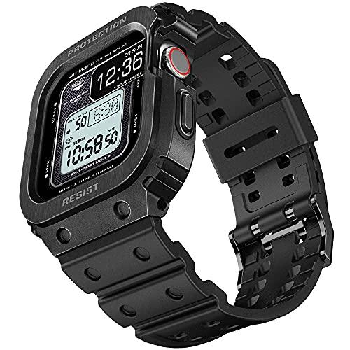 amBand Armband für Apple Watch 44mm Series 6/SE/5/4, Metall Schutzhülle mit Ersatzband, Militärisches Sportliches Band mit Hülle für iWatch Serie 44 mm Matte Black