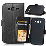 Fatcatparadise Cover per Samsung Galaxy Grand Neo Plus/Grand Neo i9060 [con Pellicola in Vetro Temperato], Cuoio Portafoglio Flip Magnetico Case Simple Wallet Case Custodia in PU Cover (Nero)