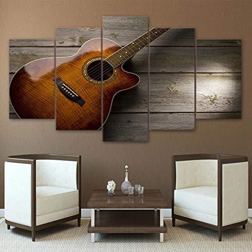 DBFHC Art Cuadros En Lienzo Instrumento Musical De Guitarra Decoracion De Pared 5 Piezas Modernos Mural Fotos para Salon...