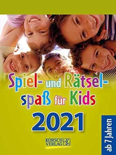 Spiel- und Rätselspaß für Kids 2021: Aufstellbarer Tages-Abreisskalender für Kinder mit Rätseln und Spielen I 12 x 16 cm