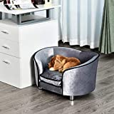 Pawhut Canapé/lit pour Chien/Chat canapé Animaux avec accoudoir et Dossier 69x49x38cm
