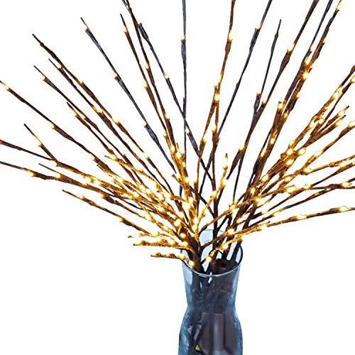 INFILILA Lichterkette mit 80 LEDs, batteriebetrieben, dekorative Lichter aus Weidenzweig, Warmweiß, 4 Stück