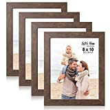 LaVie Home 8x10 Picture Frames (4 Packs, Dark Brown) Wooden Textured Finish Photo Frame with High Definition Glass for Wall Mount & Tabletop Display, Set of 4 Zest Collection