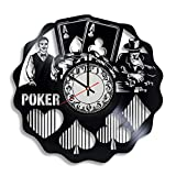Lepri4ok Poker Vinyl Wall Clock, Gifts for Him, Poker Wall Clock - Casino Vinyl Clock Theme Party Decorations Full House Board Game Decor