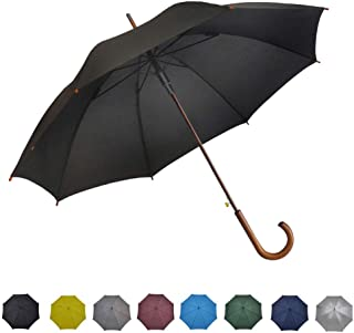 Stick Umbrella Automatic Open Curved Wooden Hook Handle Rain Black Umbrellas with Classic J Handle 48