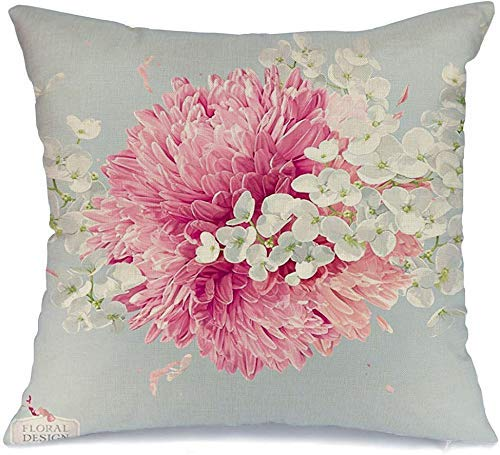 Funda de Cojine Throw CojínBoda floral moderna de temporada Asters lujosos Dahlia Crisantemos rojos Vintage Naturaleza Matrimonio Fundas para almohada 45X45CM