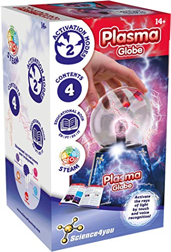 Science4you - Globo de Plasma - Juguete educativo y Científico, Bola de plasma, lámpara mágica con sensor táctil de luz, regalo eléctrico para niños y niñas, +14 años, juego educativo
