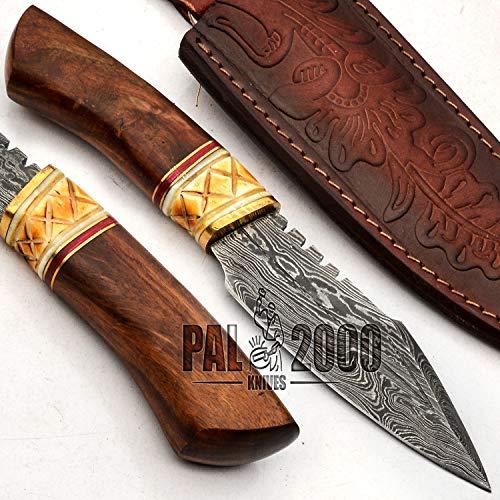 PAL 2000 Damascus messen - handgemaakte Damascus staal mes - gegarandeerde kwaliteit Damascus staal Mini Camping mes - keuken mes met schede 9720