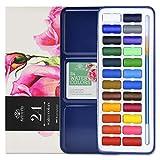 Art-n-Fly Juego De Acuarelas - 24 Colores con Pincel - Caja de Metal