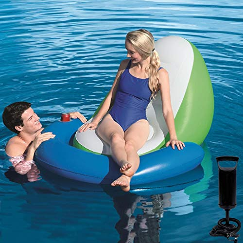 Find Bargain Water Inflatable Sofa Swimming Seat Seaside Holiday Back Floating Row Drifting Recliner...