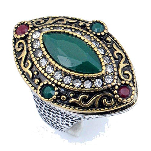 Retro Fashion Ring 7.75 US! Turkish Style!! Simulated Red Ruby and Green Emerald Gems! Sterling...