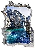 DesFoli Bucht Insel Rhodos Felsen Meer Wandtattoo Wandsticker Wandaufkleber E1275 Größe 108 cm x 148 cm