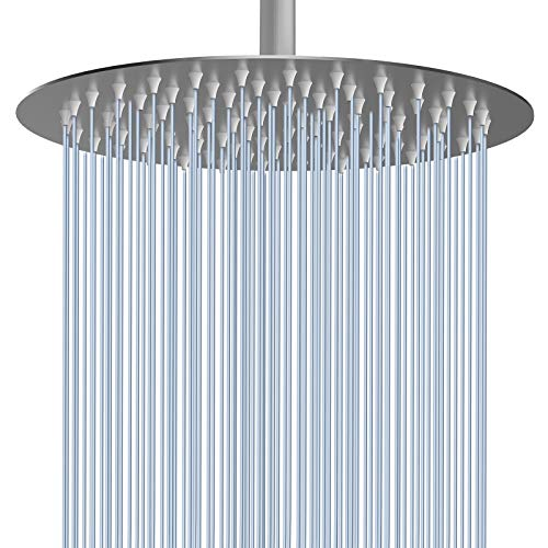 "Voolan Rainfall Shower Head - 12"" High Flow Showerhead Made of 304 Stainless Steel - Luxury Modern Chrome Look - Universal Wall and Ceiling Mount (1.8GPM, Brushed Nickel)"