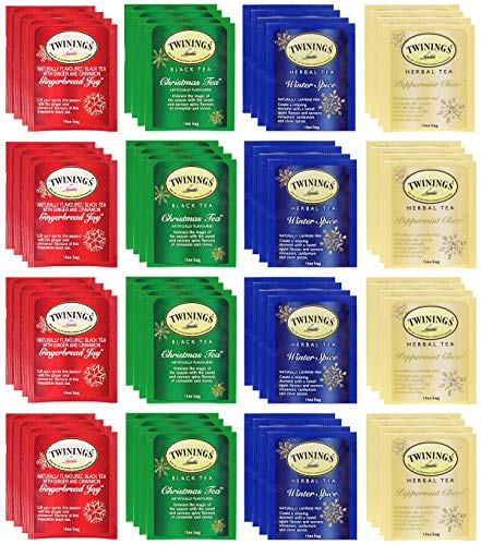 Twinings Holiday Variety Tea Bag Pack, Peppermint Cheer, Holiday Berry, Christmas Tea, Winter Spice and other variety 50 Count tea sampler