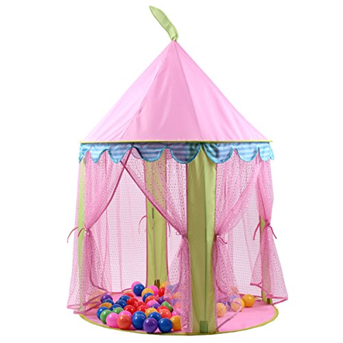 Read About USDREAM Folding Pop-Up Princess Castle Children Play Tent House for Girls Indoor & Outdoo...
