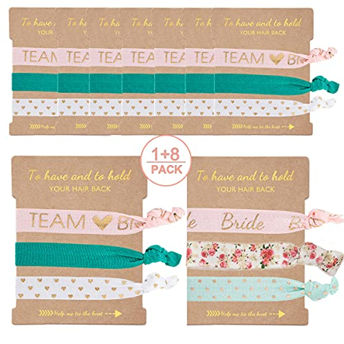 9 x 3-Pack Bride Bridesmaid Hair Ties,Bridesmaid Proposal Gifts,Bridal Shower Wedding Bachelorette Party Favors for Bridesmaids Team Bride(Pink&Green)
