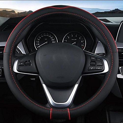 MIAO Schutzfolien von Lenkrad, Vier Jahreszeiten Universal atmungsaktiv rutschfeste verschleißfeste Leder Autos Lenkradabdeckung, schwarz + rot, 36cm