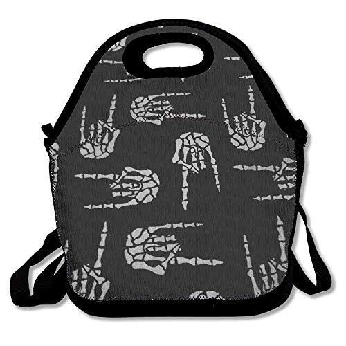 Heavy Metal Skull Rock Hand Lunch Bags Insulated Travel Picnic Lunchbox Tote...