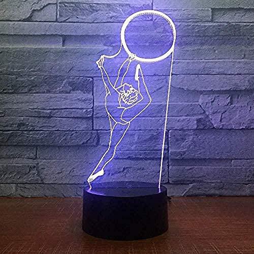 Luz De La Noche Del 3D Lámpara De Tabla Para Decoración Del Hogar Gimnasia 7 Colores Cambiando Con El Botón De Tacto Inteligente Regalo Romántico Para El Amante, Esposa, Novio O Novia
