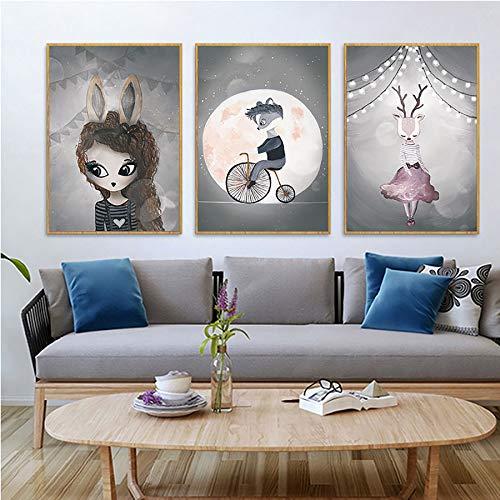 3 Piezas Dibujos Animados Cuadro sobre Lienzo, Estilo De Ilustración Dulce Imprime Carteles Decoración Pintura para La Habitación De Los Niños Pasillo, Sin Marco,A,30x40cm(11.8x15.7in)
