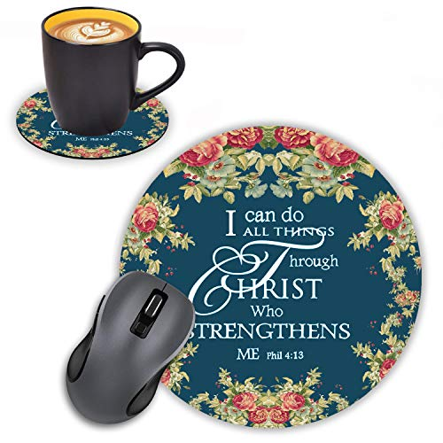 Log Zog Round Mouse Pad with Coasters Set, Floral Quote Inspirational Quotes Bible Verse Phil 4-13 Design Mousepad Non-Slip Rubber Gaming Mouse Pad for Computers Laptop