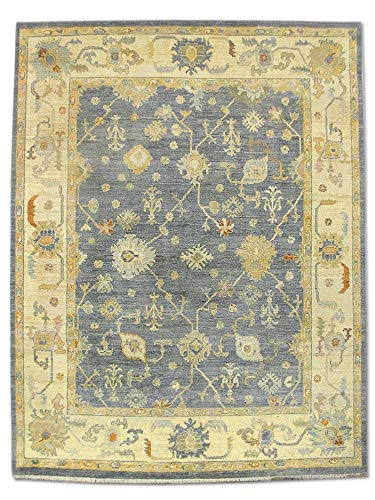Pak Persian Rugs Handgeknüpfter Ushak Teppich, Grau/Blau, Wolle, Large, 240 X 309 cm