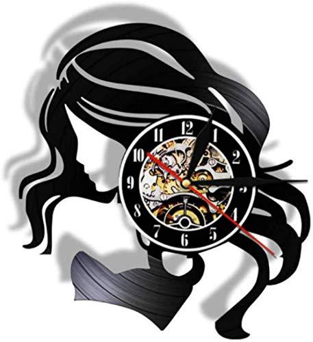 zgfeng Bella Dama con Cabello Largo, Reloj de Pared con Disco de Vinilo Vintage, salón de Belleza, Logotipo de Empresa, Cuidado del Cabello, Reloj de Pared de Peluquero de Mujer-con LED