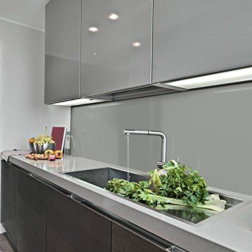 KERABAD Küchenrückwand Küchenspiegel Wandverkleidung Fliesenverkleidung Fliesenspiegel aus Aluverbund Küche Silber Metallic Glanz/matt 30x100cm
