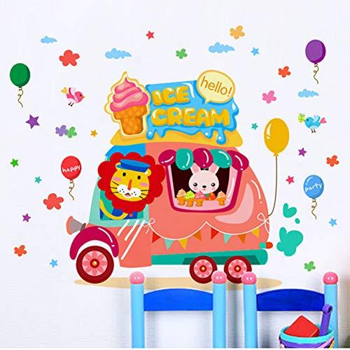 TAOYUE Cartoon Kinderkamer Decoratieve Muurstickers Leuke Dier Tijger Konijn ijs Auto Muurstickers DIY Verwijderbare Decals