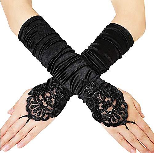 Jurxy 1920er Stil Handschuhe Elastisch Audrey Hepburn Handschuhe mit Spitze und Perlen Fingerlose für Frauen, Hochzeit, Oper, Ball, Fasching, Karneval, Tanzen, Halloween