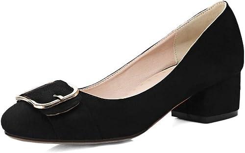 VIVIOO Bureau Dame Femmes Pompes PU Cuir Nubuck Talons Hauts Chaussures Grande Taille 32-48 Chaussures de Travail Chaussures Peu Profondes Solides élégants