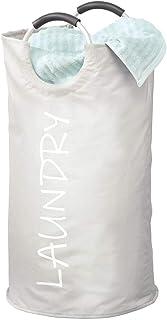 mDesign panier à linge – panier rangement fin en polyester plastifié avec poignées en aluminium – bac rangement pliable po...