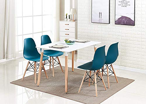 Ansley&HosHo Retro White Wood Dining Table and Chairs Set of 4, 5 Pieces Kitchen Set Including 4 Occasional Chairs with Rectangular Dining Table for Small Space Apartment