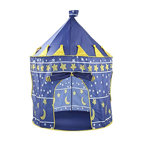Portable Children's Tent, Foldable Indoor Outdoor Play House Princess Castle Play Tent Yurt, Children Birthday 0915 (Color : Blue)