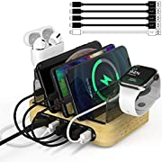 Bamboo Charging Station for Multiple Devices, 40W 5-Port Desktop USB Charger, Charging Stand Dock Compatible iPhone 11/Pro/Max, Galaxy S9/S8, iPad, Tablet and More (5 Charging Cables Included)