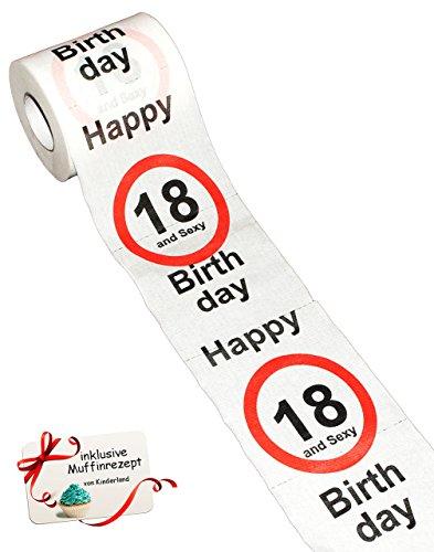 alles-meine.de GmbH 1 Rolle _ Toilettenpapier -  18. Geburtstag / achtzehn und Sexy - Happy Birthday  - 28 m - Verkehrsschild - WC Klopapier Klopapier - lustig Klorolle große R..
