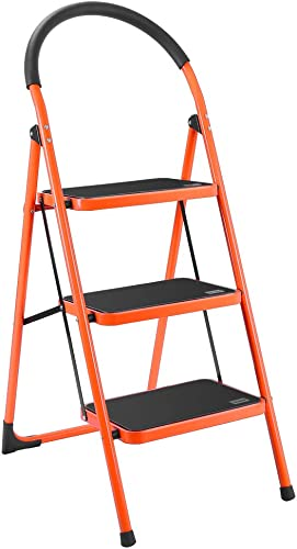 new arrival Luisladders online Folding 3 Step Ladder Portable Space Saving Lightweight Ladders with Sturdy Steel and Anti-Slip Wide Pedal, Multi-Use for Household, Market, Office (330 outlet sale Lb) sale