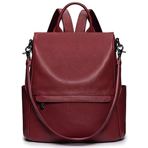 S-ZONE Women Genuine Leather Backpack Bag Anti-Theft Travel Rucksack Convertible Shoulder Bag Backpack