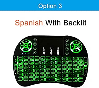 Calvas Normal & Backlit i8 2.4GHz Wireless Keyboard Air Mouse Touchpad Handheld English Spanish Russian For Android TV BOX - (Color: Spanish with backlit)