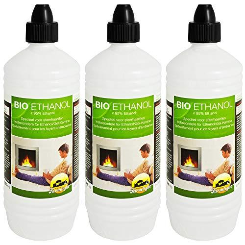 Farmlight 3 Liter Bio-Ethanol> 95% - 96,6% Premium für Ethanolkamine Gelkamine Bambusfackeln Rückstands lose Verbrennung aus nachwachsenden Rohstoffen