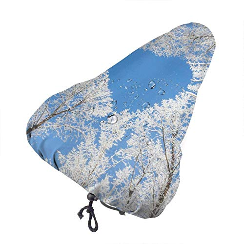 GOSMAO Blue Sky Winter Tree Printed Bicycle Seat Cover,Waterproof Bike Seat Rain Cover Dust Resistant Bike Seat Cushion Cover