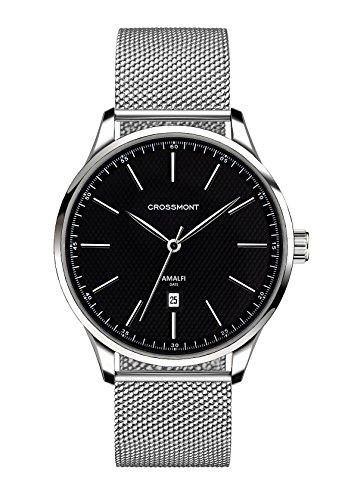Crossmont 0110515 - Orologio al quarzo da uomo, con display analogico nero e cinturino in maglia in acciaio inox, 40,9 mm