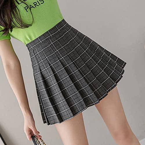 Fmiljiaty Kobiety dziewczęta krótka wysoka talia plisowana spódnica mundur krótka spódnica w kratę spódnice duży rozmiar letni haft damska spódnica najlepszy prezent dla miłośników krótkich spódnic Kolor M