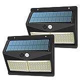 Luz Solar Exterior, 【3 Modos 108 LED - Super Brillante】SINJIAlight 180 Grados Foco Solar con Sensor de Movimiento IP65 Impermeable Lámpara Solar 2000mAh para Jardín - 2 Paquete