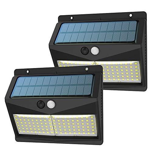 Lampade Solari a LED da Esterno, SINJIAlight 3 Modalità 108LED 2000mAh faretti solari a led da esterno Sensore di Movimento e Luminosità Super Luminoso per Cancello, Aatio e Giardino - 2 Pezzo