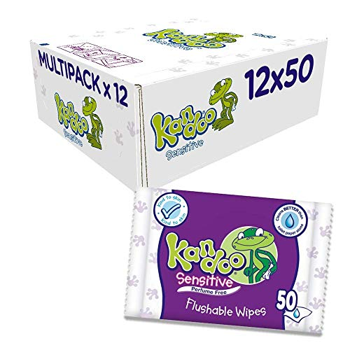 Kandoo Sensitive flushable Toilet Wipes - Pack of 12, Total 600 Wipes