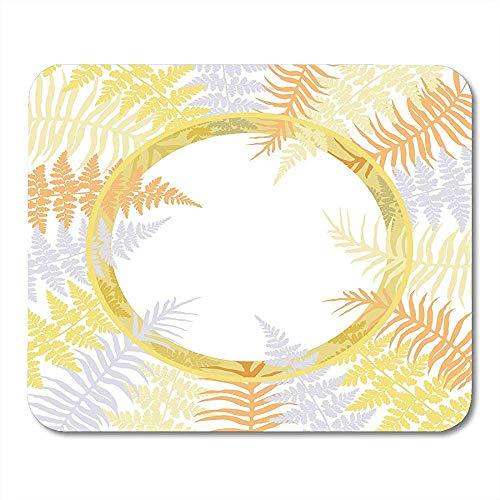 Gelb-orangee und graue Farn-Wedel-Kreis-Pflanzenblätter auf den weißen ausführlichen tropischen Waldkräutern, die glatt waschbaren Laptop Mousepad 25x30cm zeichnen
