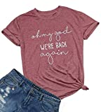 Oh My God We're Back Again Shirt Concert Band Tee Shirts for Women Music Tee Shirts with Funny Saying (M, Pink)